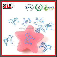 horse shaped paper clips with star shaped plastic box