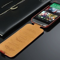 Crazy Horse Retro and Vintage Style PU Leather Mobile Phone Flip Case for HTC M8