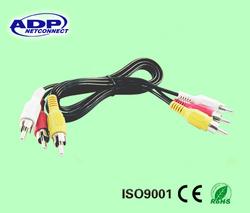 colorful PVC sheath 3 RCA to 3 RCA audio RCA CABLE