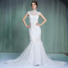 New Slim Europe and hollow shoulders high pockets hip long tail saudi arabian wedding dress
