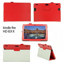 Two Fold Stand Flip Leather Tablet Cover Case for Amazon Kindle Fire HD 8.9 Inch Protective Case