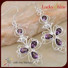 mariposa púrpura pendientes de la mayor china fabrica