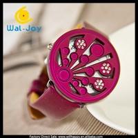 pretty luxury high quality ladies leather strap special flip type Rocky watch(WJ-4152)