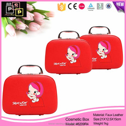 Bright and shiny portable handmade suitcase shaped cosmetic box