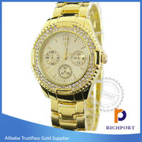 Hot Selling Luxury Diamond Gold Quartz Watch for Women