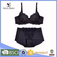 sweet OEM service push up women hot sexy designer fancy bra and panties transparent lace panty set