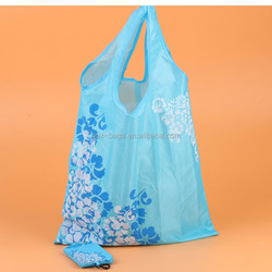 wenzhou real manufacture supply nylon foldable shopping bag with small pouch