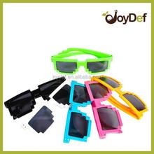Pixelated Shape Tetris Frame Sun Glasses Geek,Retro Neon Color Video Game Pixelated 8-bit Pixel Sunglasses