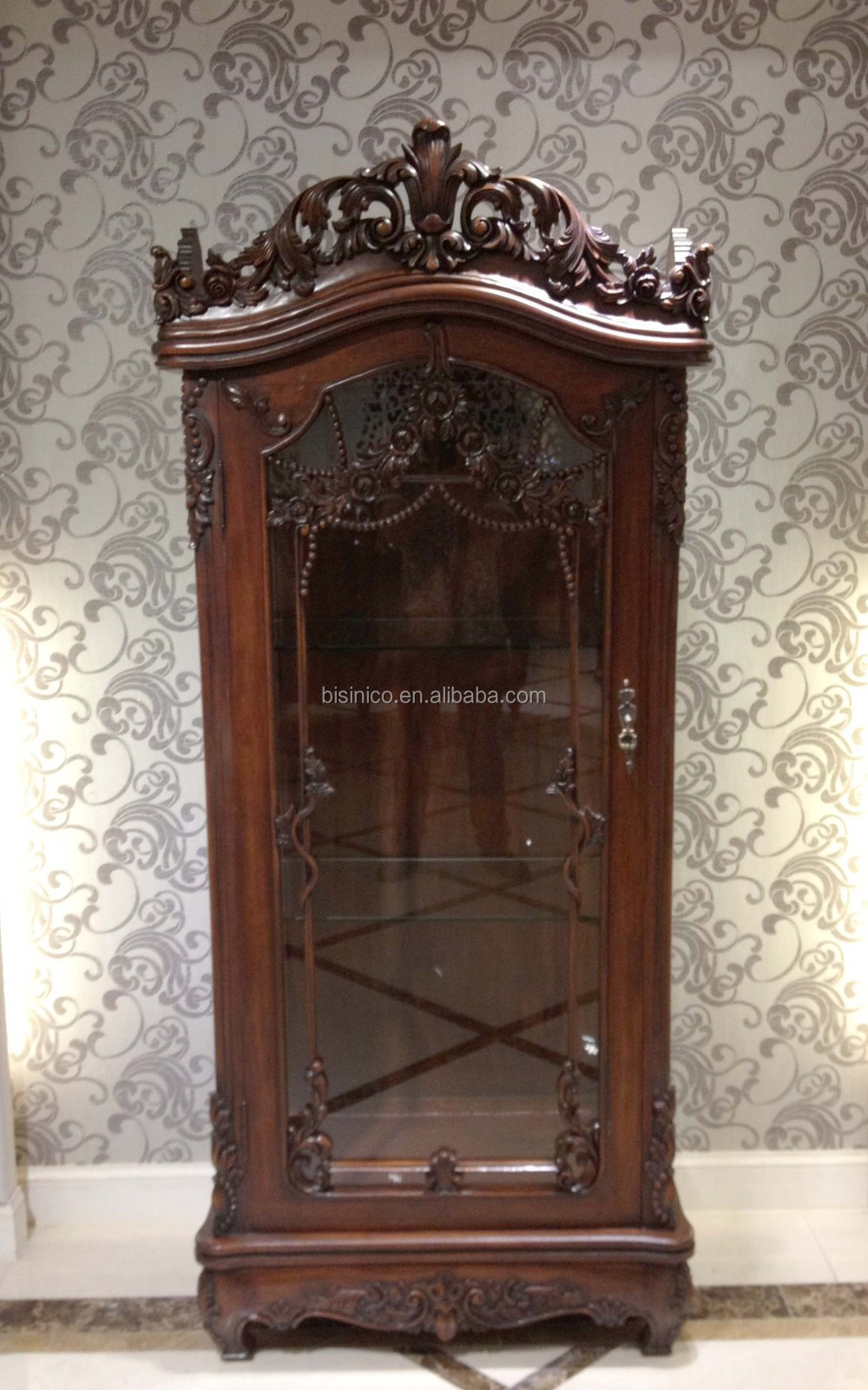 59-0409-507.JPG - Neoclassic Wood Carved Wine Cabinet/Show Cabinet, Luxury And Antique