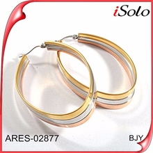 2015 fashion jewelry circle round Nickel Lead Free large gold plated big hoop earrings for women