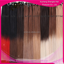 Accept Customized Human Virgin Remy Hair Ombre Micro Loop Ring Hair Extension