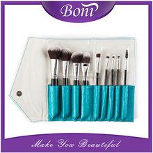 9pcs Super Professional Soft Cosmetic Makeup Brush Set Powder/Blush/Foundation Brush with Leather Bag