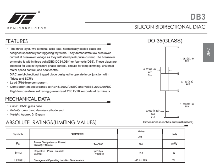 Pacote de Diodo DIAC DB3 DO-35 DC34 DB4 DB6