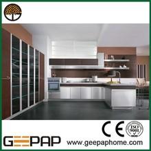 modern flat pack UV kitchen cabinet shelf edge