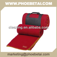 polar fleece travel blanket with handle and embroidery logo