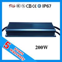 5 years warranty waterproof IP67 triac 0-10V 1-10V dc PWM 200 watt dimmable LED driver