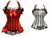 lace sexy satin corset and bustier with bows sexy lingeire party corset bustiers