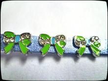 DIY Enameled Colored slide charm 8mm bowknot rhinestone slide charm
