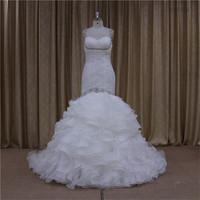 Pretty slim corset organza tired skirt wedding gown