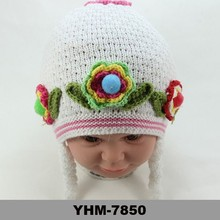 hand knitted hats beanie baby girl crochet beanie with flower