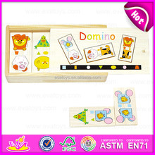2015 Wholesale custom cheap wooden domino game set,Promotion colorful domino set wholesale,Domino set toy in wooden box W15A013