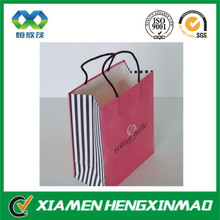 Pink printing paper shopping bag with black cotton handle