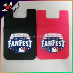 customized logo printing silicone card holder/silicone sticker phone smart wallet