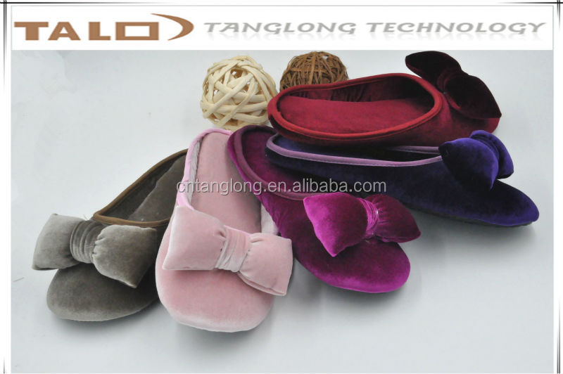 ladies bowknot pleuche slippers, ladies indoor shoes