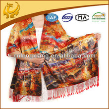 Turkish New Fashion Style 2-Layer Digital Print Design Silk Women Scarves,Shawls And Scarves