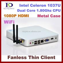 2015 Hot model fanless micro pc mini computer Intel celeron 1037u dual core,HTPC,WIFI,3D game computer