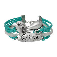 """Wax Rope Braiding Leatheroid Bracelets White & Blue Antique Silver Infinity Symbol Lovely Cat """"Believe"""" Carved Findings"""
