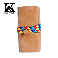 SK Men's Women's Fashion real Leather Trifold Long Wallet cow leather