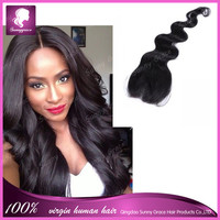 Sunny Grace hair products natural black brazilian human hair body wave middle part lace hair top closure pieces for black women
