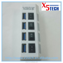 x5tech new design 4 port HUB USB3.0 with on/off switch