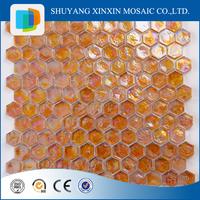 Polished hexagon glass mosaic tile for Bathroom and kitchen backsplash