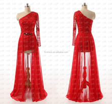 2015 Best Selling Single Long Sleeve Evening Dresses Beading Zip Back Red Skirt Prom Gowns F&MG19