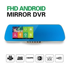 2015 hot selling car rearview mirror camera dual lens video recorder , car bluetooth rearview mirror with fm transmitter