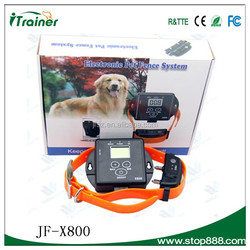 2015 Hot Fashion Two Dogs Shock Collars Electric Pet Fencing with 100 Level LED Display JF-X800