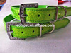 1.8cm Width Green Pearlescent Shinning Leather Dog Collars Pet Products