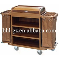 hotel furniture supplier guest room domestic Multi purpose cleaning cart with cover housekeeping trolleys maids Utility cart