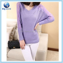 bigworld 2015 novo estilo crochet tricots decote em v pullover camisola