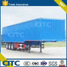 2015 China CITC cargo transporting truck trailer / low chassis back opening door 3 axles van semi trailer with goose-neck