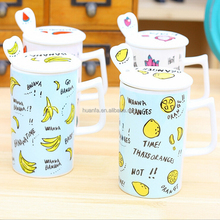 Innovative design ceramic mug fruit decal coffee mug with lid and spoon