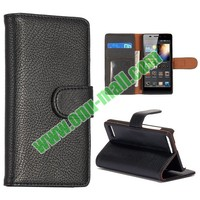 Pure Color Lichi Pattern Flip Stand Leather Cover for Huawei Ascend P6 Case with Credit Cards