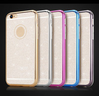 Luxury Bling Glitte TPU Back Cover Plating Frame 2 in 1 Sparkle Phone Case Housing For iPhone 6 6s 6plus