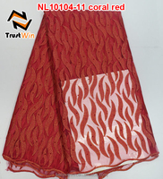 reasonable price fashion style african french net lace with stones in coral red