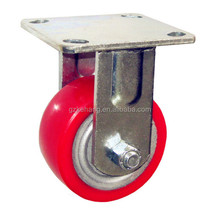 "wholesaler trolley caster wheel, 4"" Direct factory fixed PU industrial castor,light duty iron hub pu caster"