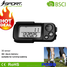 Shenzhen Professional Pedometer Factory Hot Sale 30 Days Memory Casual Wearing 3D Sensor Pedometer P089