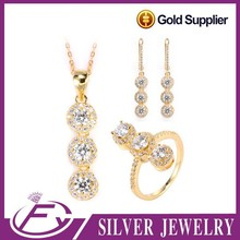 Wedding party 925 sterling silver zircon golden african jewelry sets 18k