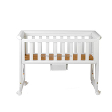 Bedside use wooden attachable baby cot with wheels
